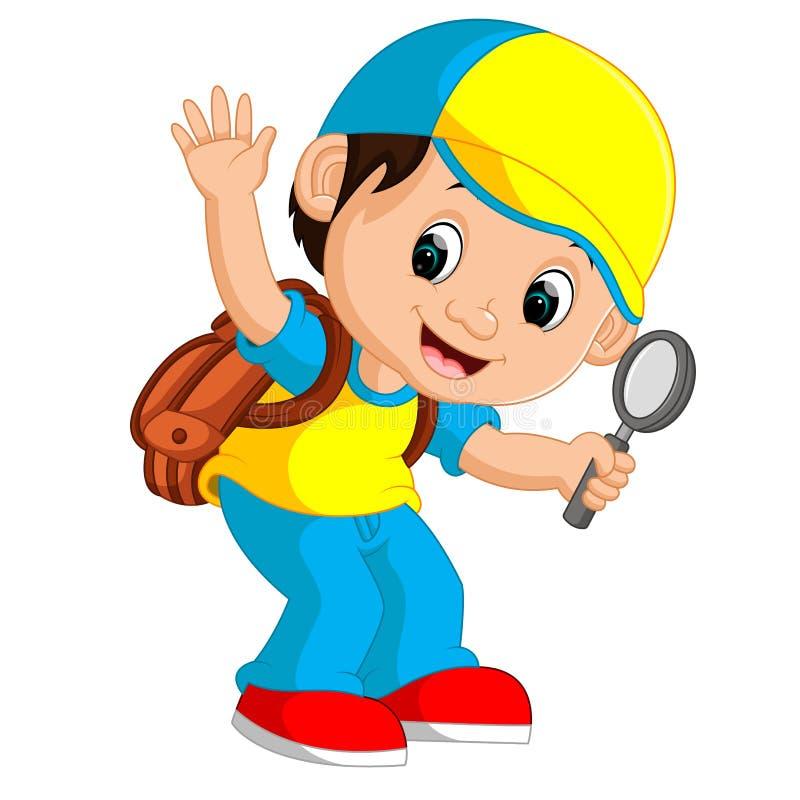 Śliczna chłopiec z plecak kreskówką ilustracji