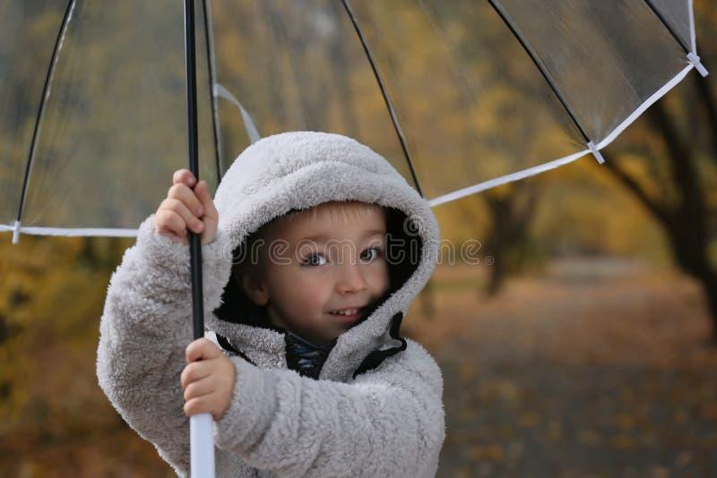 Śliczna chłopiec z przejrzystym parasolem w jesień parku obraz stock