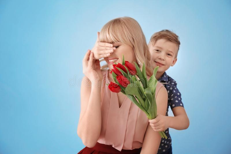 Śliczna chłopiec zaskakuje jego matki z tulipanowym bukietem na popielatym tle obrazy royalty free