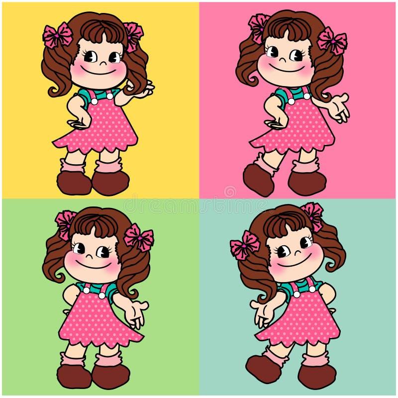 Śliczna charakter kreskówki dziewczyna bezszwowa ilustracja wektor