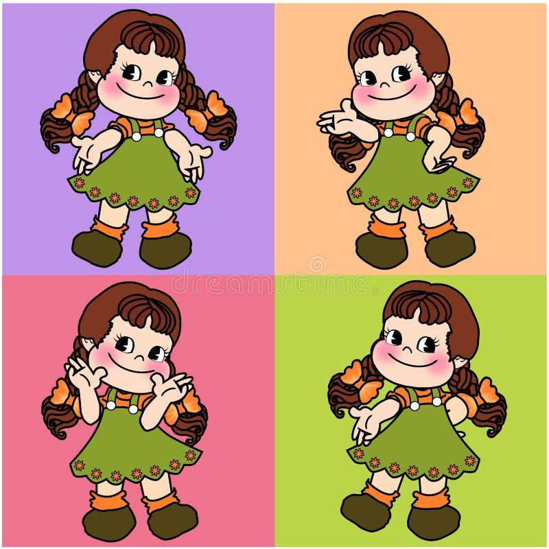 Śliczna charakter kreskówki dziewczyna bezszwowa royalty ilustracja