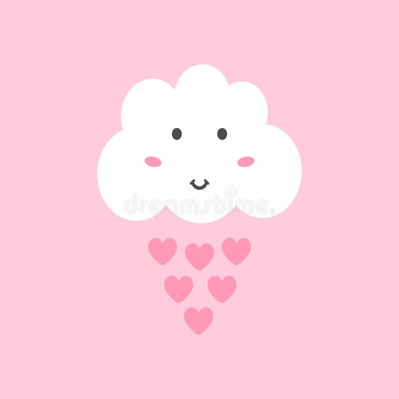 Śliczna chmura z oczami, uśmiech, rumieniec i raindrops w formie serc, royalty ilustracja