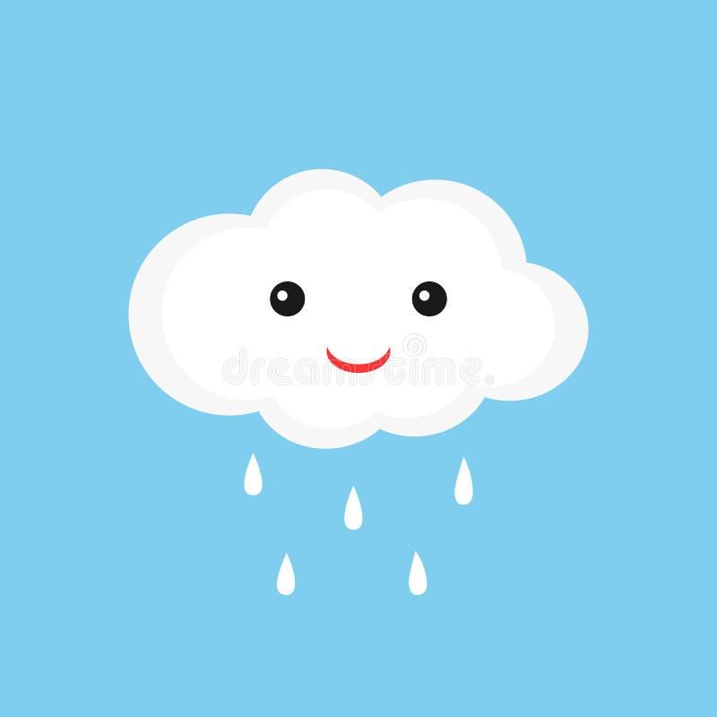 Śliczna chmura z smiley raindrops i twarzą ilustracja wektor