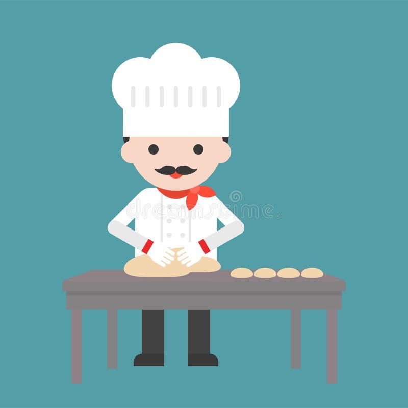 Śliczna ciasto szefa kuchni omłotowa mąka lub ugniatać ciasto na stole, fla royalty ilustracja