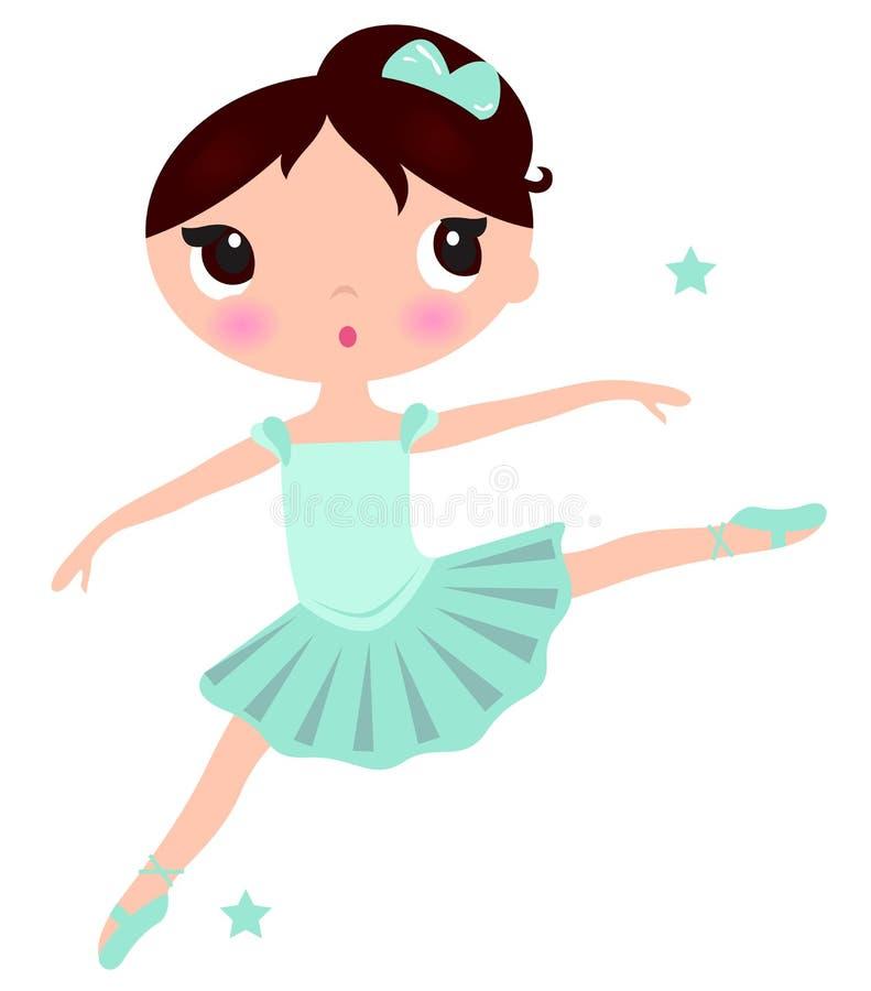 Śliczna cyan baleriny dziewczyna ilustracji