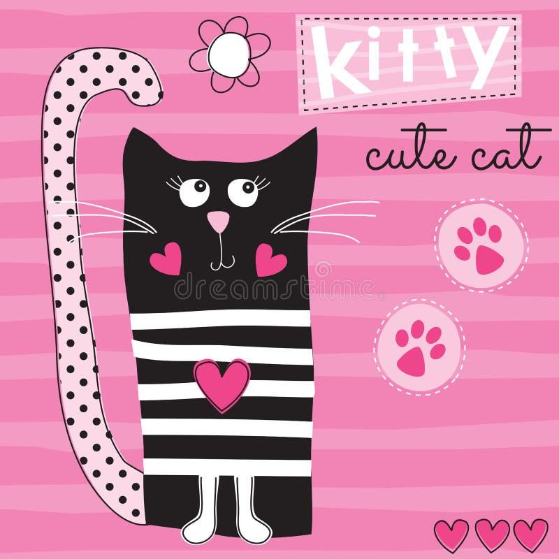 Śliczna czarnego kota kiciuni wektoru ilustracja royalty ilustracja