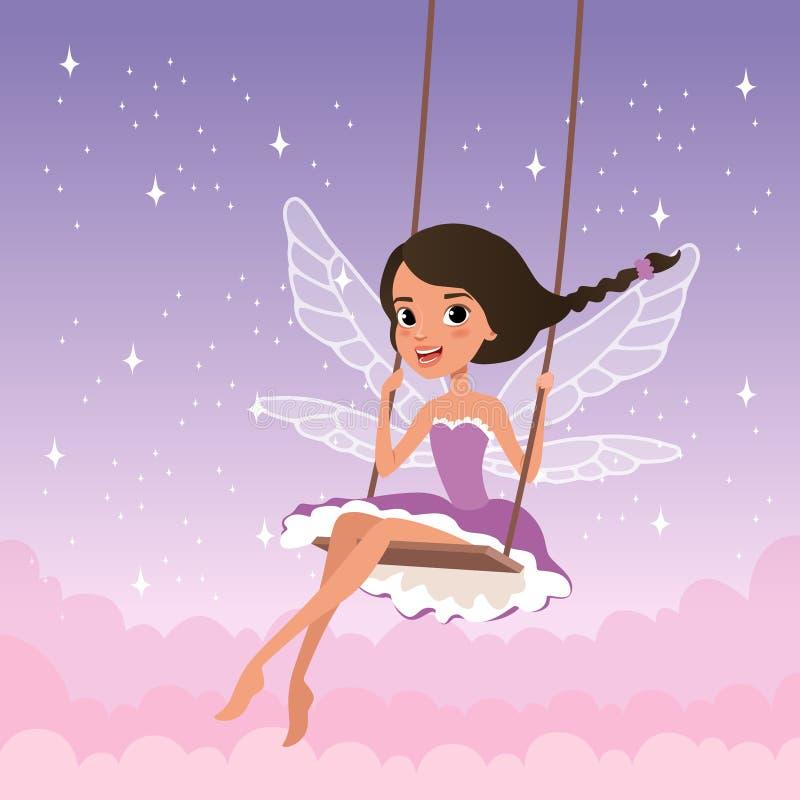 Śliczna czarodziejka na huśtawce Magiczna istota od bajki Kreskówki dziewczyny charakter jest ubranym purpury z skrzydłami ubiera royalty ilustracja