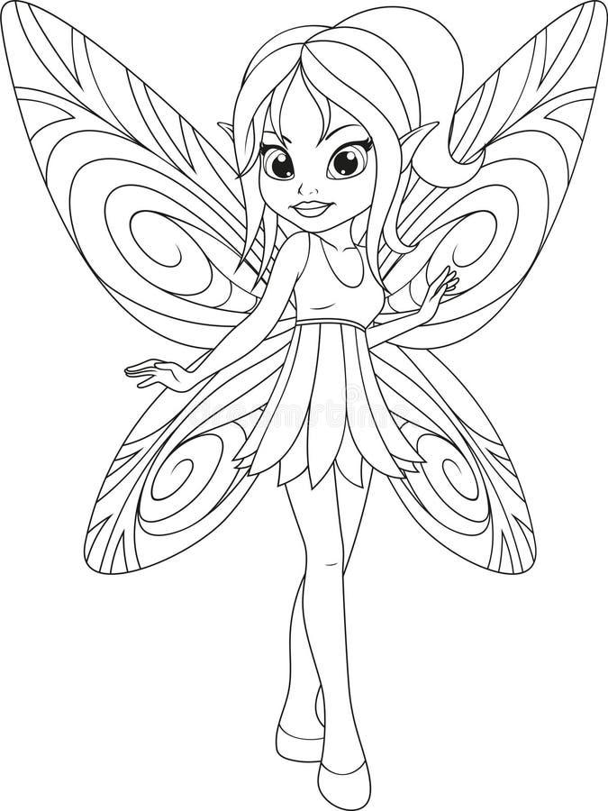 śliczna czarodziejka z wingsn royalty ilustracja