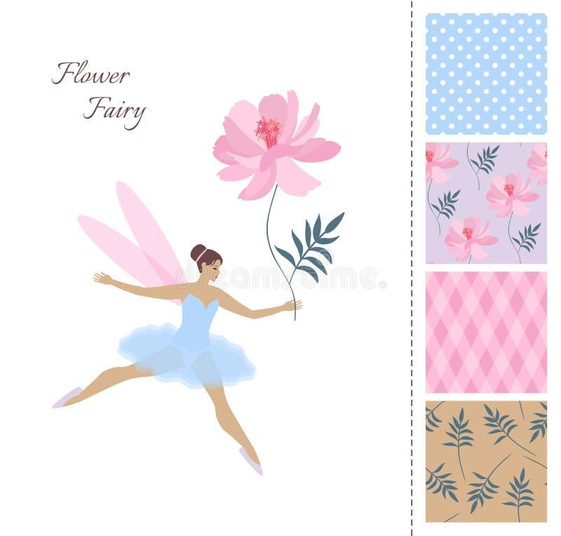 Śliczna czarodziejska dziewczyna z dużym różowym kosmosem kwitnie Karta i set bezszwowi wzory z kwiatów, liści, rhombus i polki k royalty ilustracja