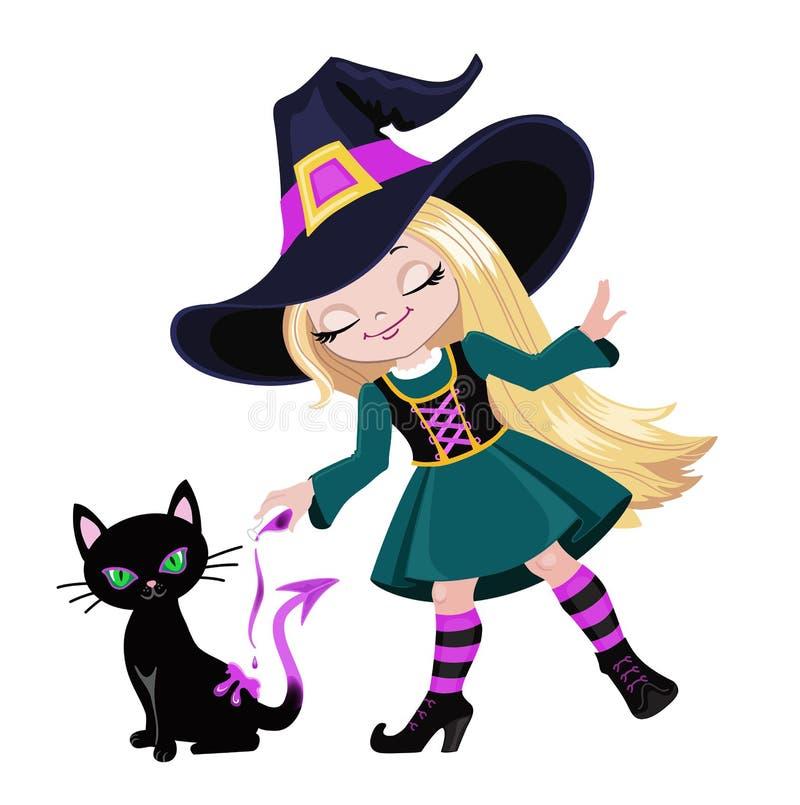 Śliczna czarownica czaruje nalewać out magicznego napój miłosnego na czarnym kocie ilustracji