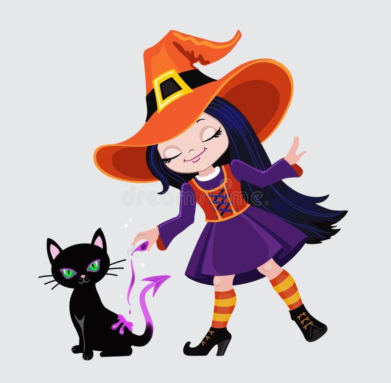 Śliczna czarownica czaruje nalewać out magicznego napój miłosnego na czarnym kocie royalty ilustracja
