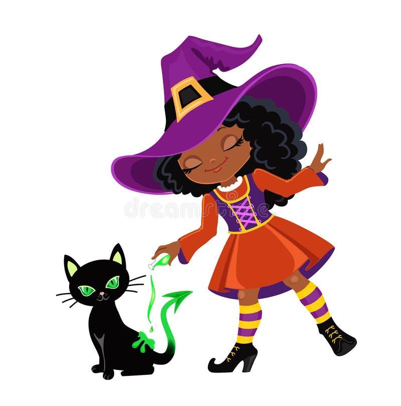 Śliczna czarownica czaruje nalewać out magicznego napój miłosnego na czarnym kocie ilustracja wektor