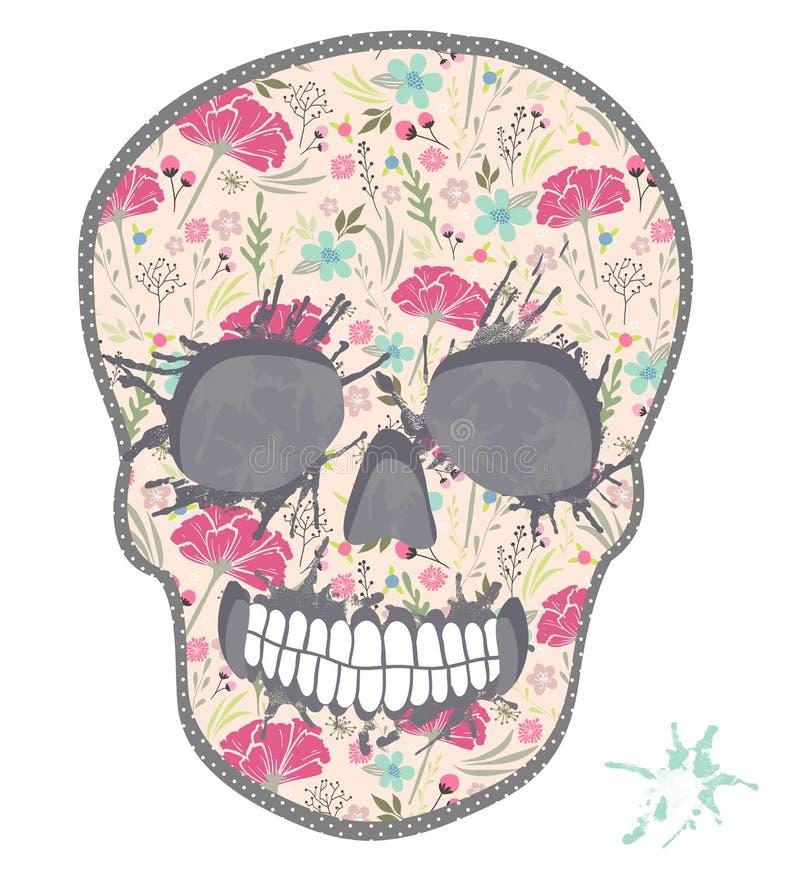 Śliczna czaszka z kwiecistym wzorem. Czaszka od kwiatów royalty ilustracja