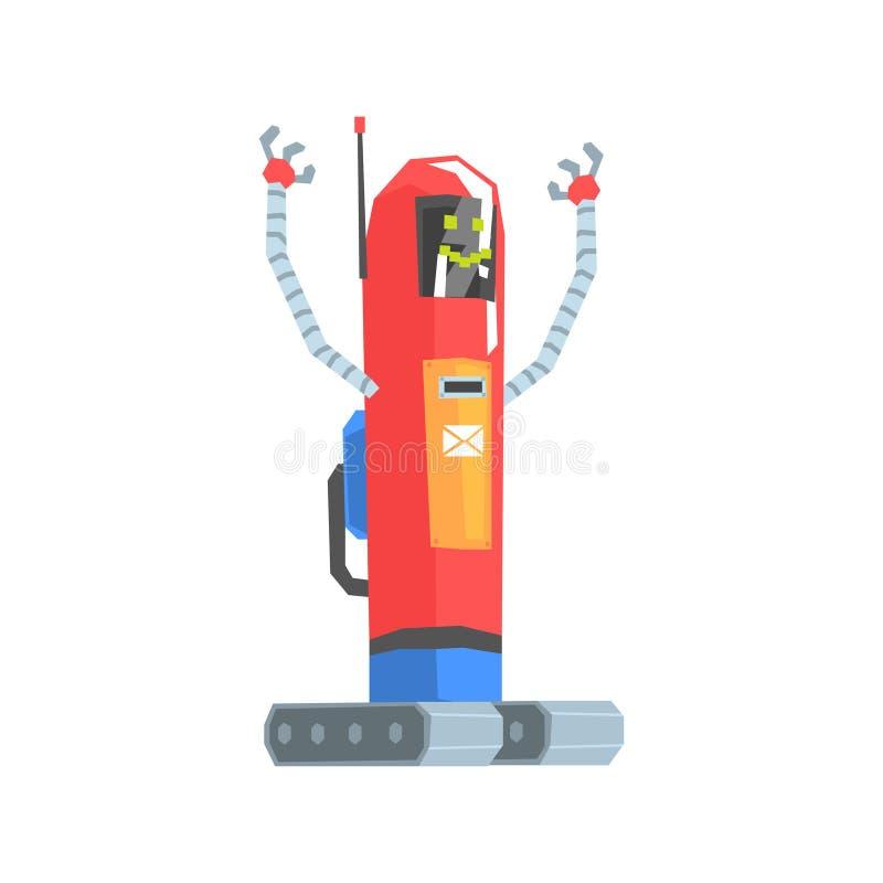 Śliczna czerwona kreskówka robota listonosza charakteru wektoru ilustracja ilustracji