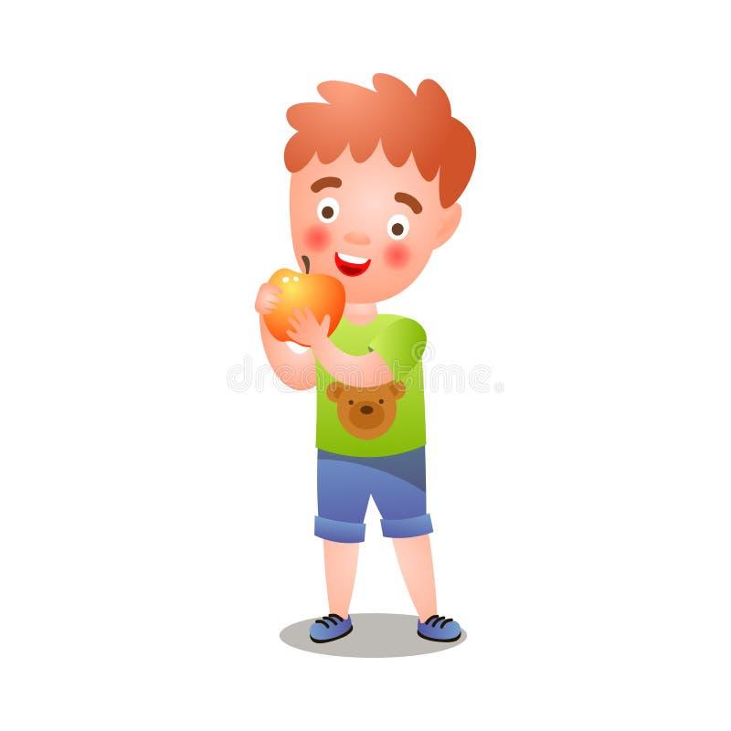 Śliczna czerwona włosiana chłopiec je świeżego jabłka w zielonym tshirt ilustracja wektor