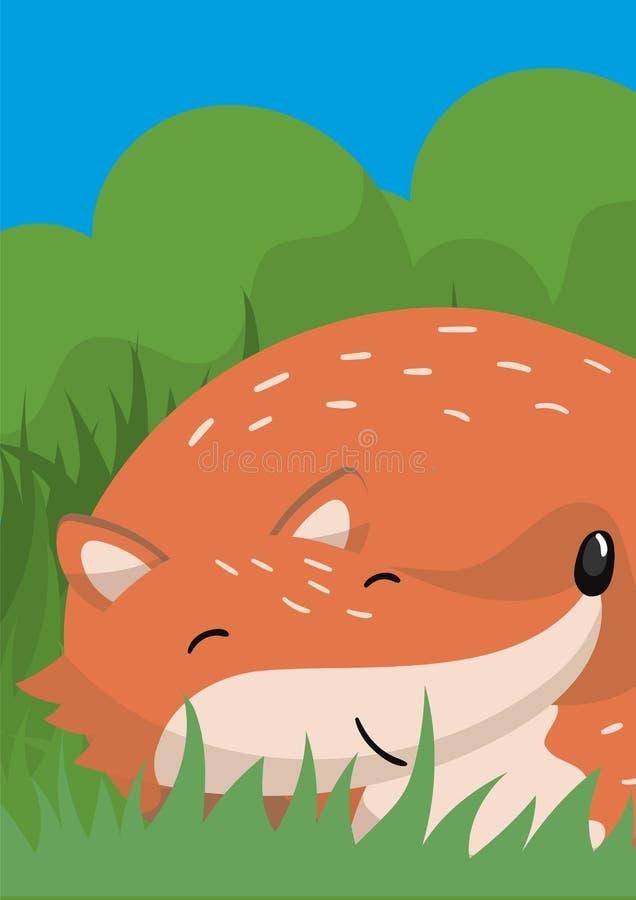Śliczna czerwonego lisa wektorowa ilustracja z lasu zwierzęciem, projekta element dla sztandaru, ulotka, plakat, kartka z pozdrow ilustracji