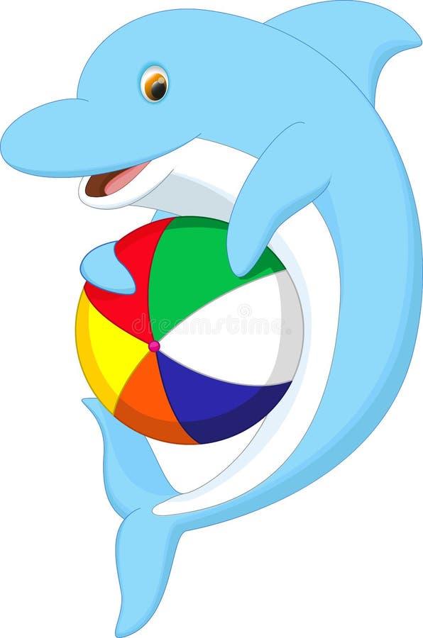 Śliczna delfin kreskówka bawić się piłkę ilustracji