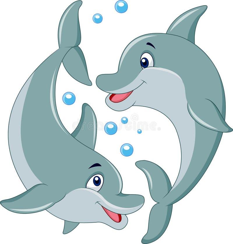 Śliczna delfin pary kreskówka ilustracja wektor