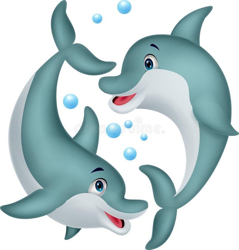 Śliczna delfin pary kreskówka ilustracji