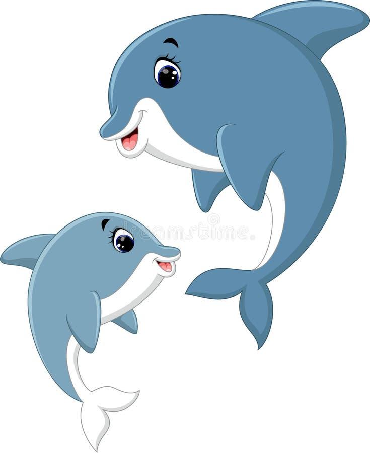Śliczna delfin pary kreskówka royalty ilustracja