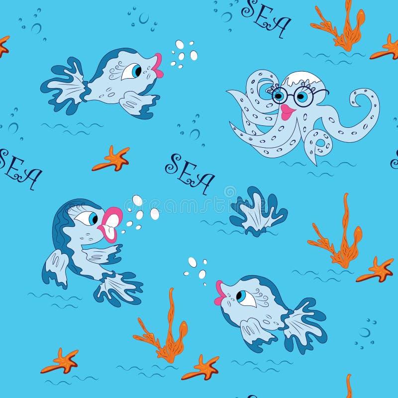 Śliczna denna ryba na błękitnym tle w kreskówka stylu ilustracja wektor