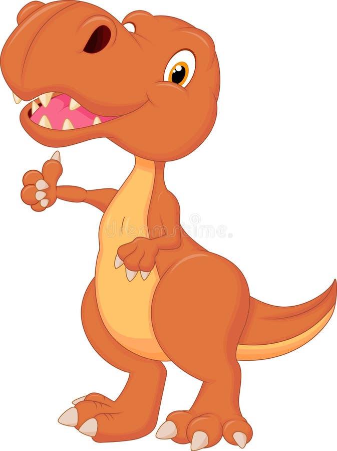 Śliczna dinosaur kreskówka daje kciukowi up ilustracja wektor