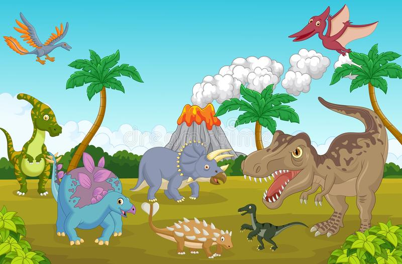 Śliczna dinosaur kreskówka szczęśliwa royalty ilustracja