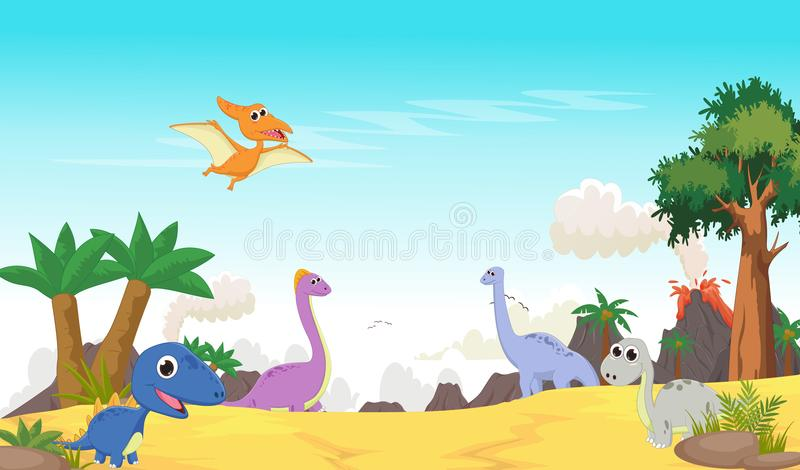 Śliczna dinosaur kreskówka z prehistorycznym krajobrazem ilustracji