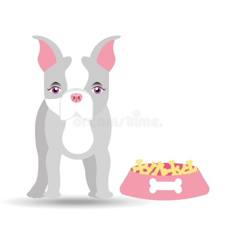 Śliczna doggy dziewczyna z karmowym pucharem ilustracja wektor