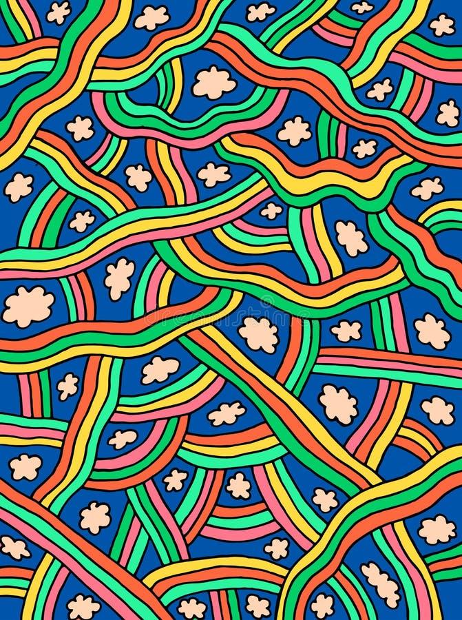Śliczna doodle tekstura z chmurami i tęczami Kreskówki kolorowa grafika Abstrakcjonistyczny niebo i elementy r?wnie? zwr?ci? core royalty ilustracja