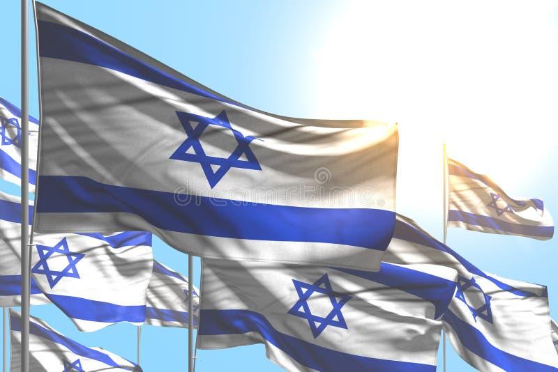 ?liczna dzie? pami?ci flagi 3d ilustracja - wiele Izrael flagi machaj? na niebieskiego nieba tle ilustracja wektor