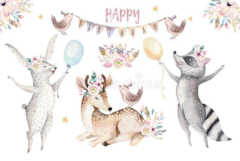 Śliczna dziecko żyrafa, jelenia zwierzęca pepiniery mysz i niedźwiedź, odizolowywaliśmy ilustrację dla dzieci Akwareli boho lasu  royalty ilustracja