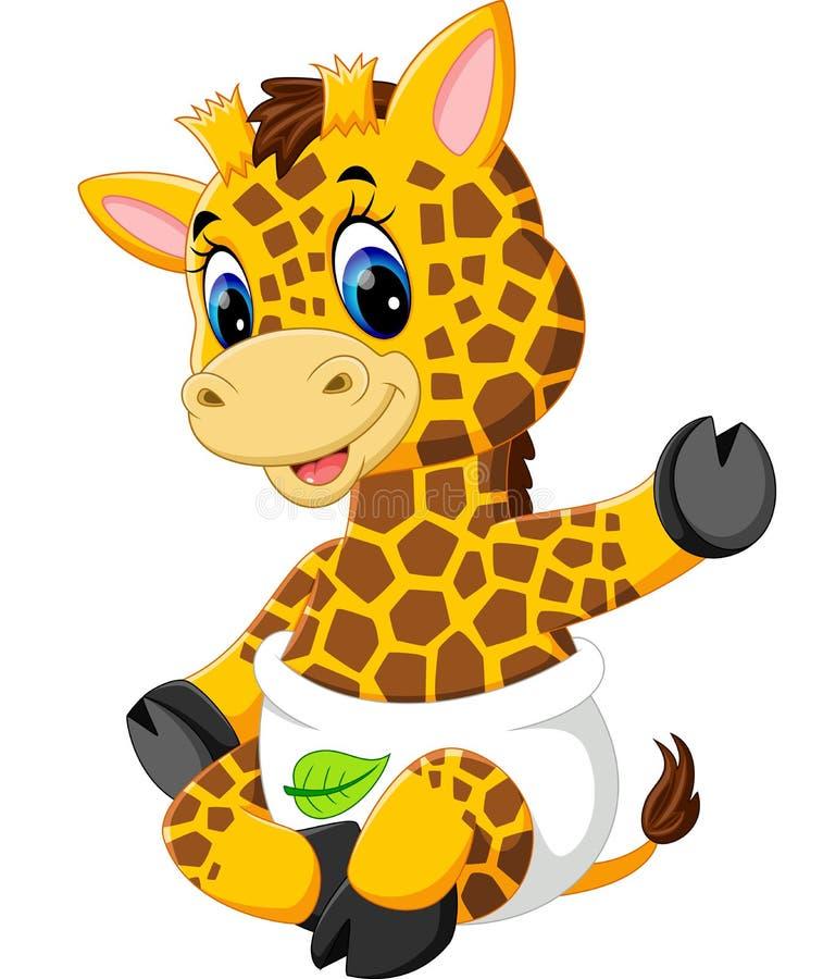 Śliczna dziecko żyrafy kreskówka ilustracji