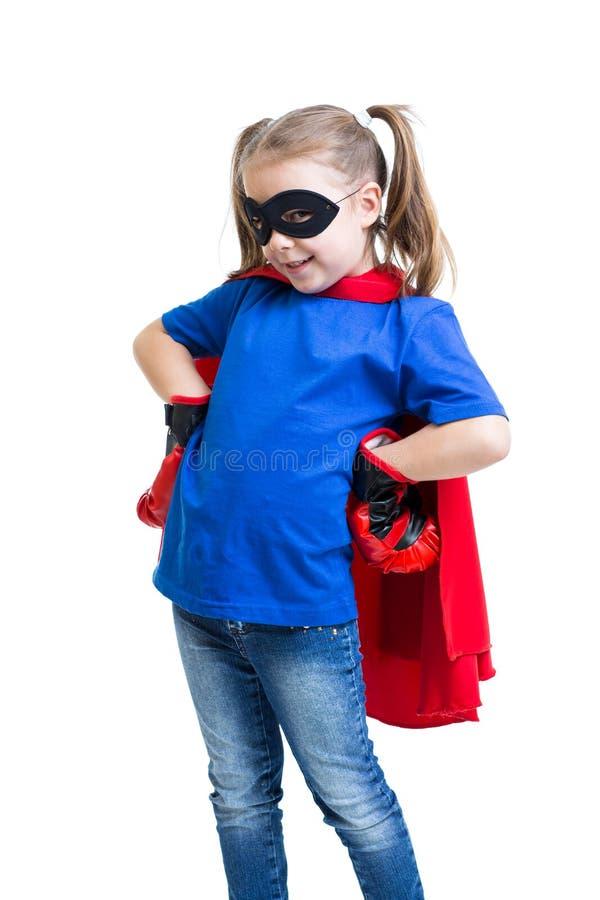 Śliczna dziecko dzieciaka dziewczyna bawić się bohatera zdjęcie royalty free