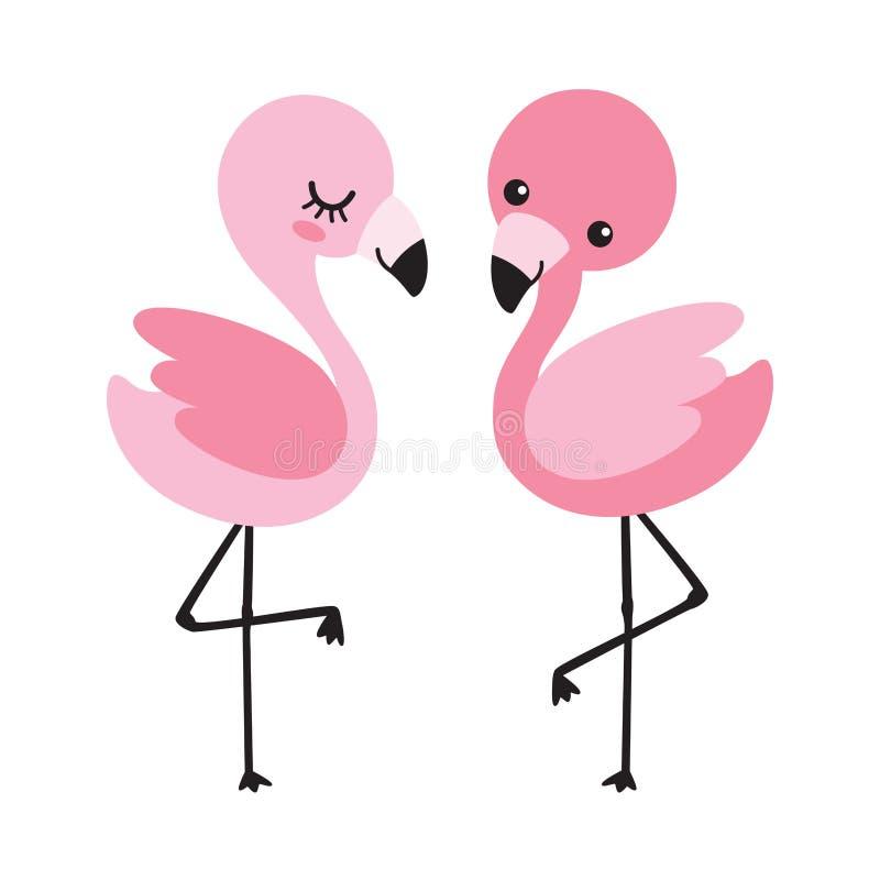 Śliczna dziecko flaminga pary wektoru ilustracja ilustracji