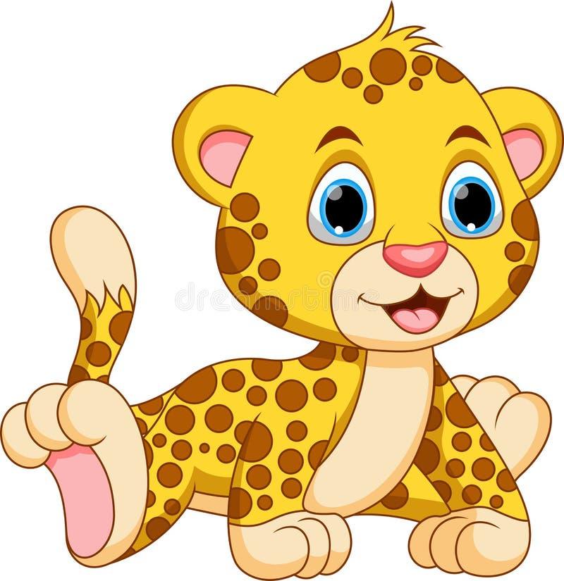 Śliczna dziecko geparda kreskówka royalty ilustracja