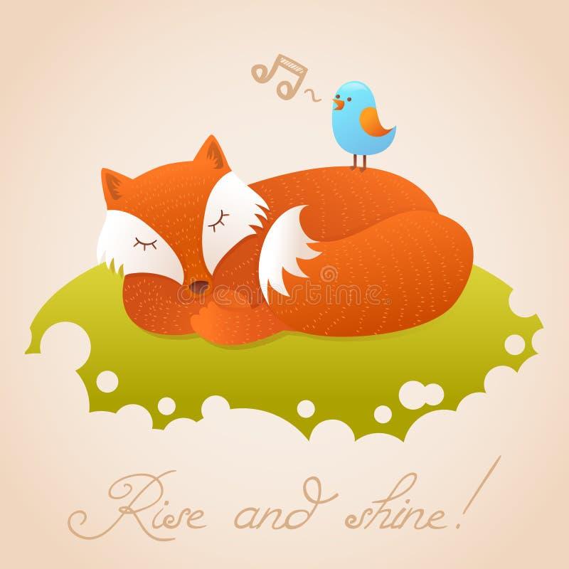 Śliczna dziecko karta z spać czerwonego lisa ilustracja wektor