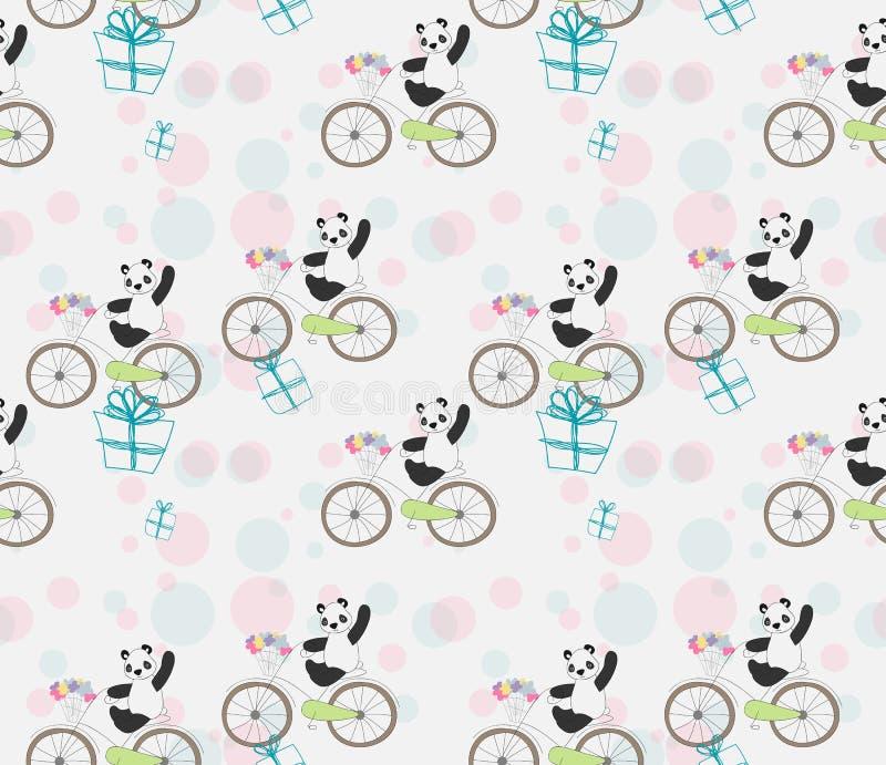 Śliczna dziecko panda na rowerze ilustracja wektor