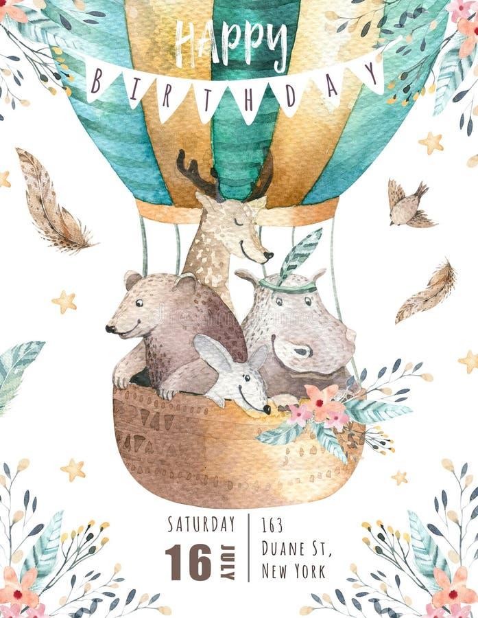 Śliczna dziecko pepiniera na balonie odizolowywał ilustrację dla dzieci Artystyczny akwarela czecha niedźwiedź, kota hipo i rogac ilustracji