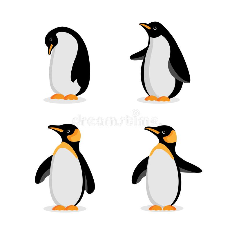 Śliczna dziecko pingwinu kreskówka w różnych pozach ilustracja wektor