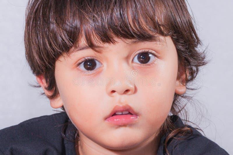 Śliczna dziecko twarz z dużymi oczami fotografia royalty free