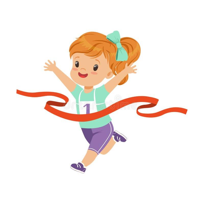 Śliczna dziewczyna biega meta najpierw, dzieciak fizycznej aktywności pojęcia wektorowa ilustracja na białym tle royalty ilustracja