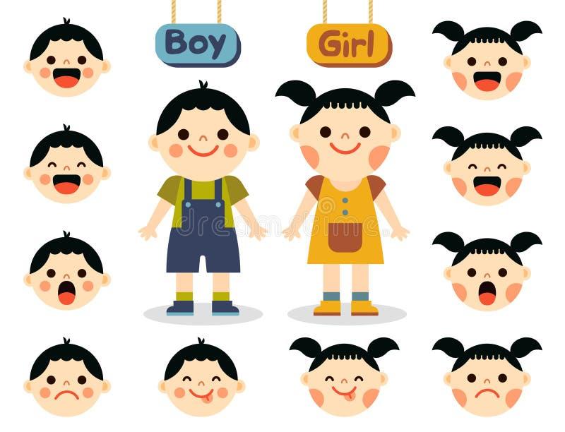 Śliczna dziewczyna i chłopiec z twarzami pokazuje różne emocje royalty ilustracja