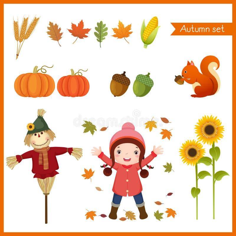 Śliczna dziewczyna i kolekcja dla jesieni ilustracja wektor