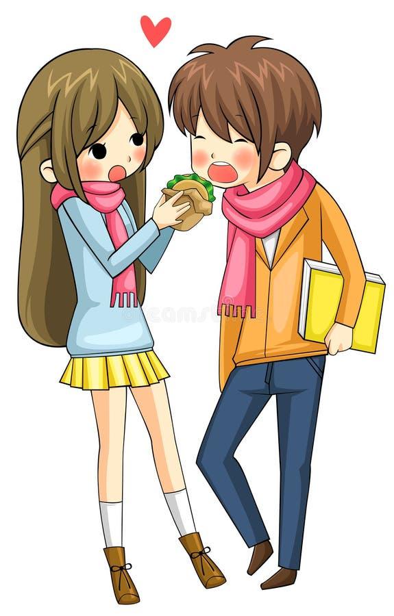 Śliczna dziewczyna jest żywieniowym hamburgerem jej chłopak royalty ilustracja