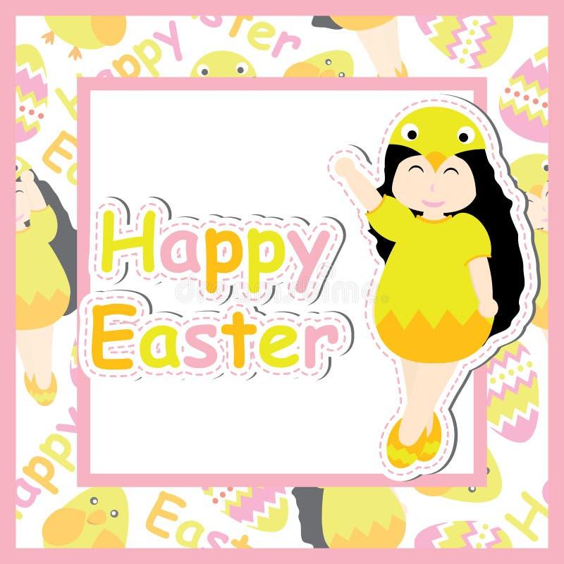 Śliczna dziewczyna jest ubranym pisklęcego zwyczaj na kwadrat ramy wektorowej kreskówce dla Wielkanocnej pocztówki, tapeta, kartk ilustracja wektor