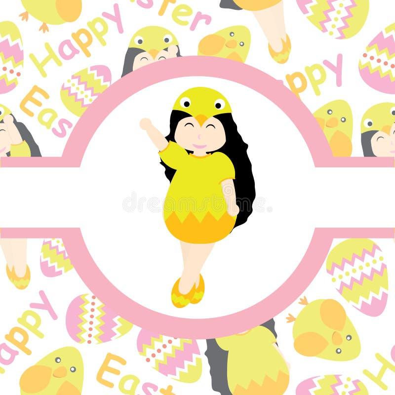 Śliczna dziewczyna jest ubranym pisklęcego zwyczaj na menchia okręgu ramy wektorowej kreskówce dla Wielkanocnej pocztówki, tapeta ilustracji