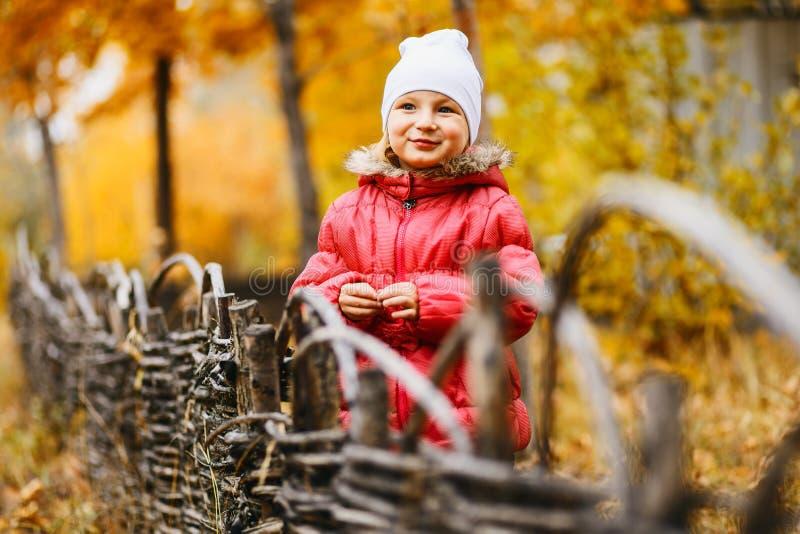 Śliczna dziewczyna pięć rok w ciepłej kurtce w jesieni outdoors, zamazany jesieni tło zdjęcie stock