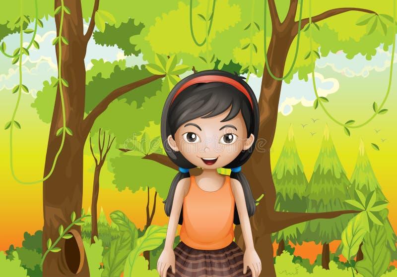 Śliczna dziewczyna przy lasem z pomarańczowym sando ilustracja wektor