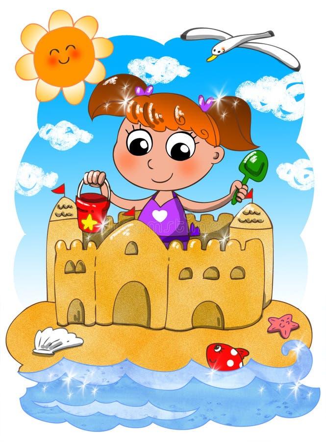 Śliczna dziewczyna przy plażą z wiadrem i rydlem royalty ilustracja